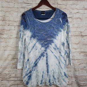 Cal Style Women Lace Lined Blouse 3/4 Sleeves Sz m